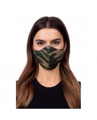TakeMe Profiled 1-layer Washable and Reusable Face mask with soft straps and pocket for extra layer Green Camo