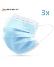 PMS 3-Layer Fabric Medical Face Masks 3pcs. convenient and compact packaging