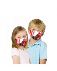 TakeMe Kids (6+) Antibacterial 2-Layer Washable Face Mask with silver iOns Super Spider