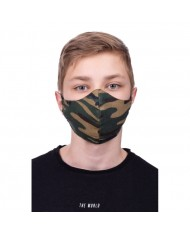 TakeMe Profiled 1-layer Washable and Reusable Face mask S size For Kids 8-12 years with soft straps and pocket for extra layer Green Camo
