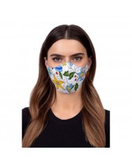 TakeMe Profiled 1-layer Washable and Reusable Face mask with soft straps and pocket for extra layer White Folklore