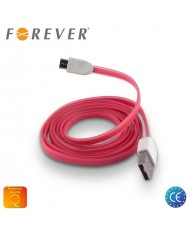Forever Flat Silicone Micro USB Data & Charging Cable 1m Pink